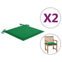 vidaXL hynder til havestole 2 stk. 50 x 50 x 3 cm grøn