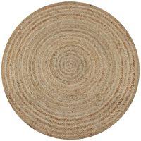 vidaXL gulvtæppe flettet jute 150 cm rund