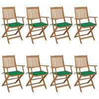 vidaXL foldbare havestole 8 stk. med hynder massivt akacietræ