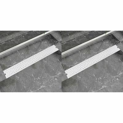 vidaXL lige bruseafløb 2 stk. boble 830 x 140 mm rustfrit stål