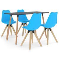 vidaXL spisebordssæt 5 dele blå
