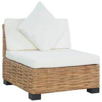 vidaXL sofa uden armlæn med hynder naturlig rattan