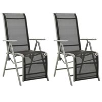 vidaXL postitionsstole 2 stk. textilene og aluminium