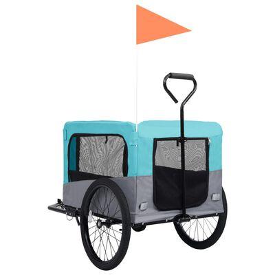 vidaXL 2-i-1 cykelanhænger og klapvogn til kæledyr blå grå
