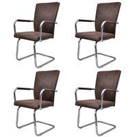 vidaXL spisebordsstole med cantilever 4 stk. kunstlæder brun