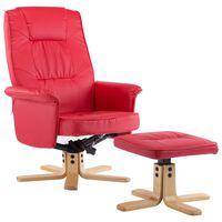 vidaXL lænestol med fodstøtte rød kunstlæder