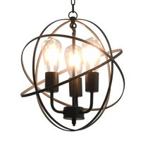 vidaXL hængelampe kugleformet 3 x E27-pærer sort