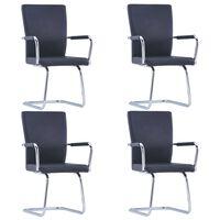 vidaXL spisebordsstole med cantilever 4 stk. kunstlæder sort