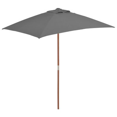 vidaXL udendørs parasol med træstang 150 x 200 cm antracitgrå