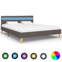 vidaXL sengestel med LED 120 x 200 cm stof lysegrå