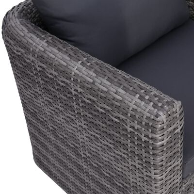 vidaXL havesofasæt 6 dele med hynder og puder polyrattan grå