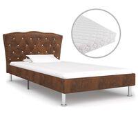 vidaXL seng med madras 90 x 200 cm stof brun