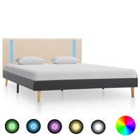 vidaXL sengestel med LED 140x200 cm stof cremefarvet og mørkegrå