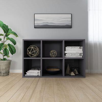vidaXL bogskab/skænk 66x30x97,8 cm spånplade grå højglans
