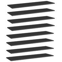 vidaXL boghylder 8 stk. 100x30x1,5 cm spånplade sort højglans