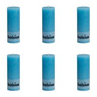 Bolsius rustikt søjlestearinlys 6 stk. 190 x 68 mm blå