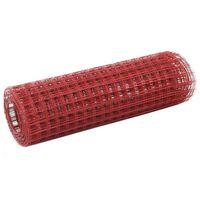 vidaXL hønsenet stål med PVC-belægning 25 x 0,5 m rød