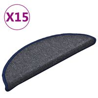 vidaXL trappemåtter 15 stk. 56x17x3 cm mørkegrå og blå