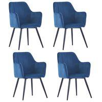 vidaXL spisebordsstole 4 stk. fløjl blå