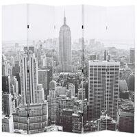 vidaXL foldbar rumdeler 200 x 170 cm New York by Day sort og hvid