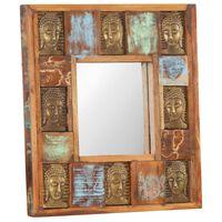 vidaXL spejl med buddha-billeder 50x50 cm massivt genbrugstræ