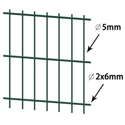 vidaXL havehegnspaneler 2D 2,008x1,43 m 10 m (total længde) grøn