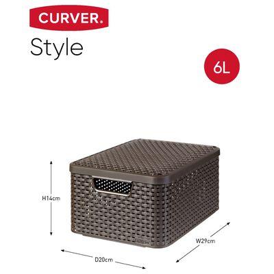 Curver opbevaringskasse med låg Style 3 stk. str. S brun 240646