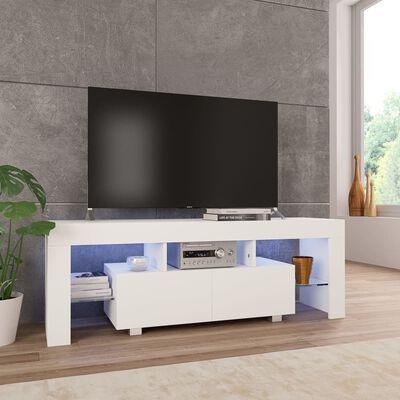 vidaXL tv-skab med LED-lamper 130 x 35 x 45 cm hvid højglans