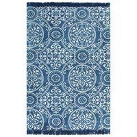vidaXL kilim-tæppe med mønster bomuld 160 x 230 cm blå