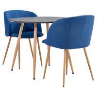 vidaXL spisebordssæt 3 dele stof blå