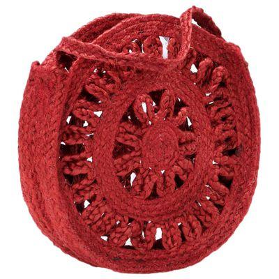 vidaXL rund skuldertaske hult design håndlavet jute rustrød