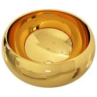 vidaXL håndvask 40 x 15 cm keramik guldfarvet