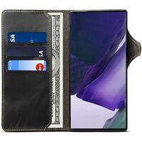 Walllet 3-kort Ægte Læder Samsung Galaxy Note 20-sort