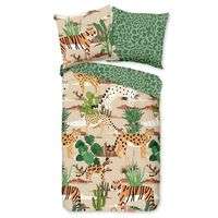 Good Morning sengetøj til børn FELINES 135x200 cm sandfarvet og grøn