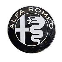 2X Sort 74mm Alfa Romeo Hood emblem med hætte