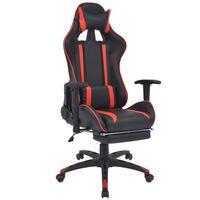 vidaXL racer-kontorstol med lænefunktion og fodstøtte rød