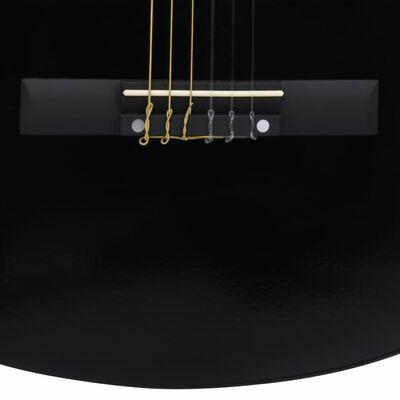 """vidaXL klassisk guitarsæt 12 dele for begynder 4/4 39"""" sort"""