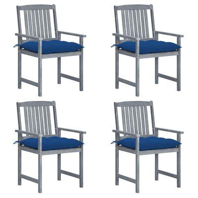 vidaXL instruktørstole med hynder 4 stk. massivt akacietræ grå