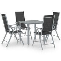 vidaXL spisebordssæt til haven 5 dele aluminium sølvfarvet og sort