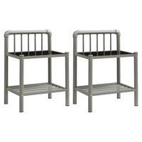 vidaXL sengeskabe 2 stk. metal og glas grå og sort