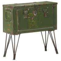 vidaXL opbevaringskuffert 68x24x66 cm militærstil jern