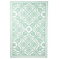 Esschert Design udendørstæppe 182x122 cm flisemønster grøn og hvid
