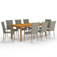 vidaXL spisebordssæt til haven 9 dele grå