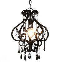 vidaXL loftlampe med perler rund E14 sort