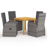 vidaXL spisebordssæt til haven 5 dele grå