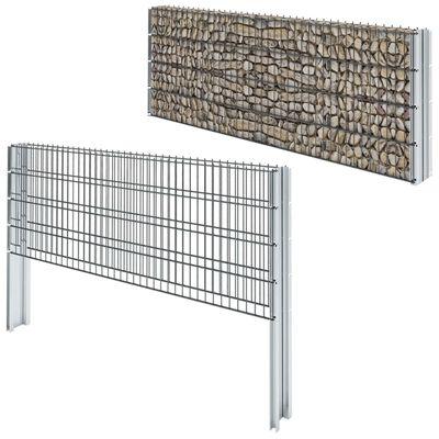 vidaXL 2D gabionhegn galvaniseret stål 2,008x0,83 m 18 m grå
