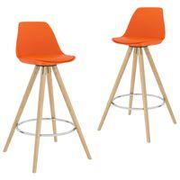 vidaXL barstole 2 stk. PP og massivt bøgetræ orange