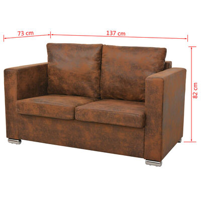vidaXL 2-personers sofa 137 x 73 x 82 cm kunstigt ruskindslæder