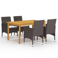 vidaXL spisebordsstole til haven 5 dele brun