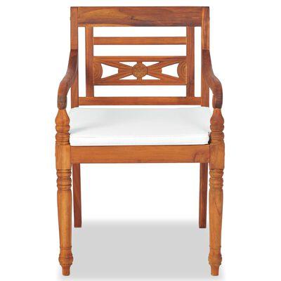 vidaXL Batavia-stole 2 stk. med hynder massivt teaktræ
